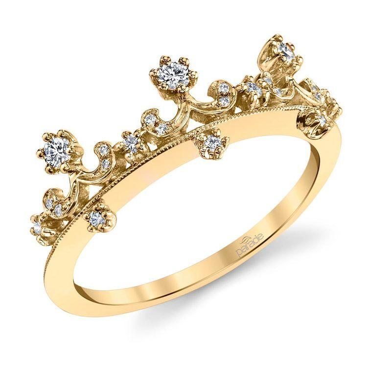 Enchanted Tiara Crown Diamond Wedding Ring in Yellow Gold by Parade | 01