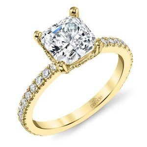 Diamond Encrusted Pave Engagement Ring in Yellow Gold by Parade