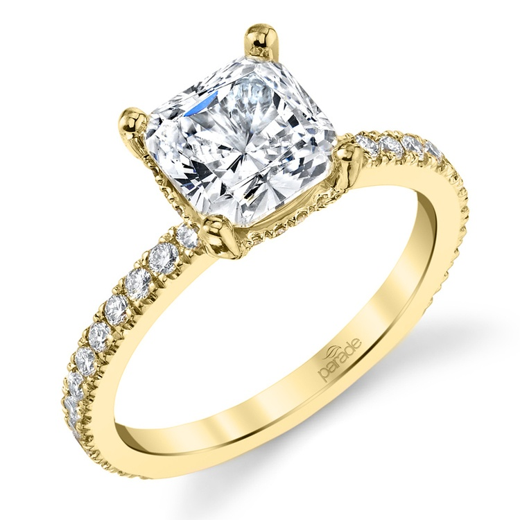 Diamond Encrusted Pave Engagement Ring in Yellow Gold by Parade | 01