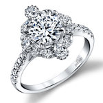 Fancy Halo Diamond Engagement Ring in White Gold by Parade | Thumbnail 01