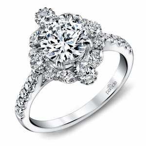 Fancy Halo Diamond Engagement Ring in White Gold by Parade