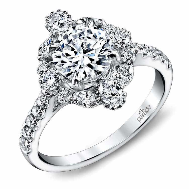 Fancy Halo Diamond Engagement Ring in White Gold by Parade   01