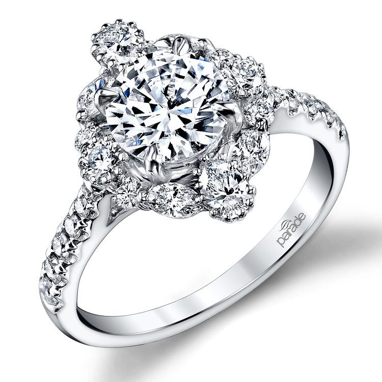 Fancy Halo Diamond Engagement Ring in White Gold by Parade | 01