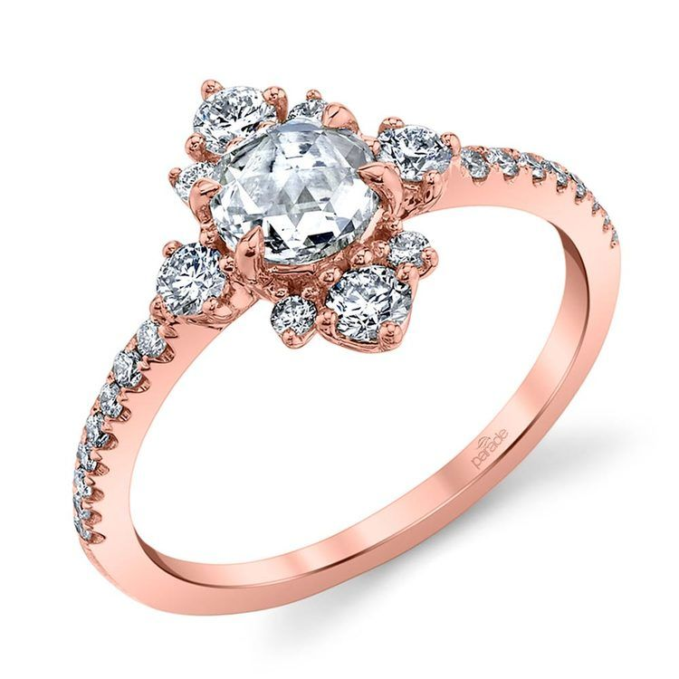 Fancy Illuminated Halo Diamond Engagement Ring in Rose Gold by Parade | 01