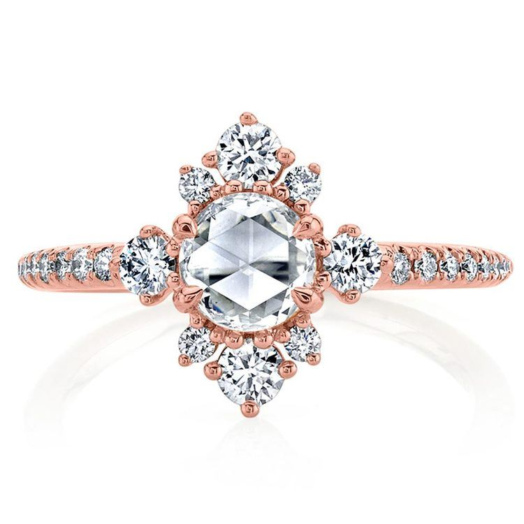 Fancy Illuminated Halo Diamond Engagement Ring in Rose Gold by Parade | 02