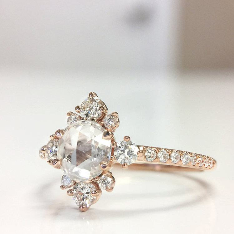 Fancy Illuminated Halo Diamond Engagement Ring in Rose Gold by Parade | 03