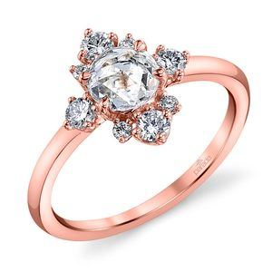 Fancy Illuminated Halo Diamond Ring in Rose Gold by Parade