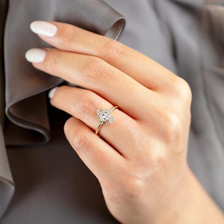 Fancy Illuminated Halo Diamond Ring in Rose Gold by Parade | 03