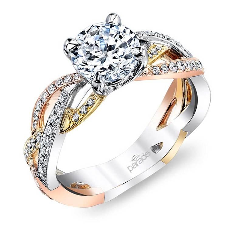 Hemera Braided Tri-Tone Gold Diamond Engagement Ring by Parade | 01