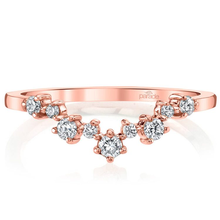 Illuminating Chevron Diamond Wedding Ring in Rose Gold by Parade | 02