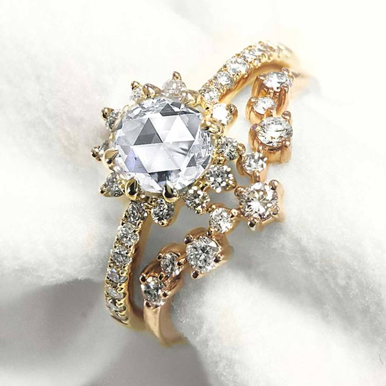Illuminating Chevron Diamond Wedding Ring in Yellow Gold by Parade | 03