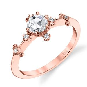 Illuminating Rose Cut Diamond Engagement Ring in Rose Gold by Parade