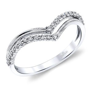 Illuminating Row Split Diamond Wedding Band in White Gold by Parade