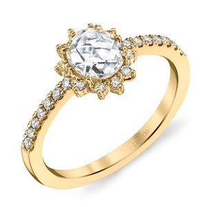 Illuminating Sun Halo Diamond Ring in Yellow Gold by Parade