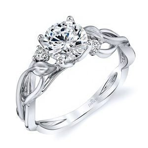 Intricate Leaves Three Stone Diamond Engagement Ring in White Gold by Parade
