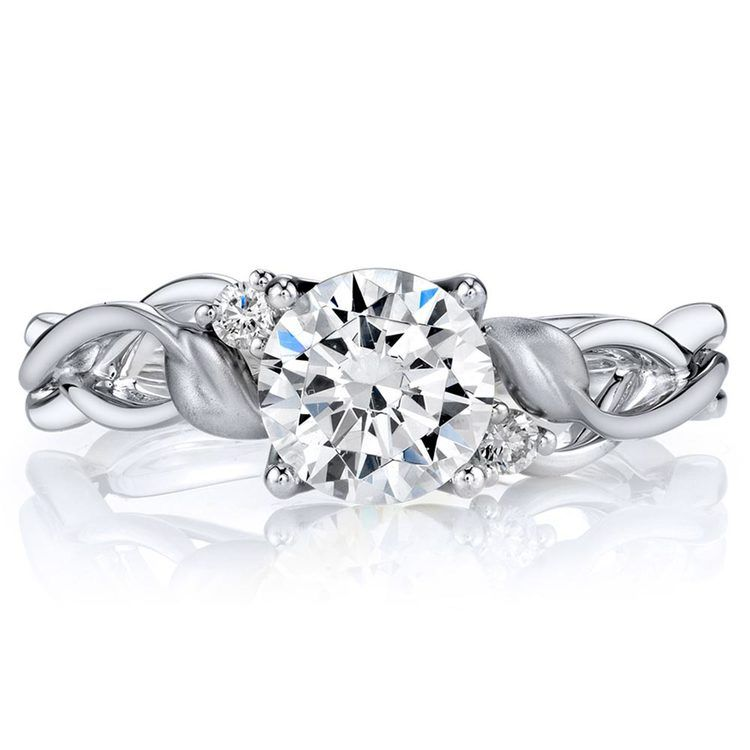 Intricate Leaves Three Stone Diamond Engagement Ring in White Gold by Parade | 02
