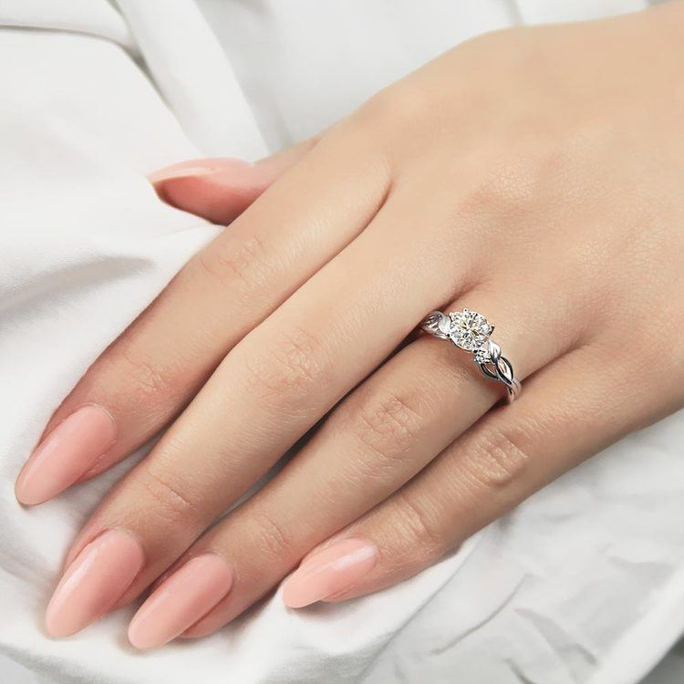 Intricate Leaves Three Stone Diamond Engagement Ring in White Gold by Parade | 03