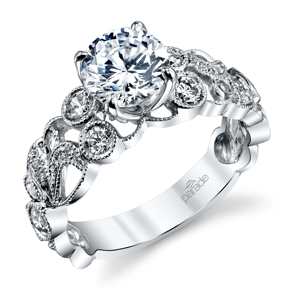 Luxe Lyria Crown Diamond Engagement Ring In White Gold By