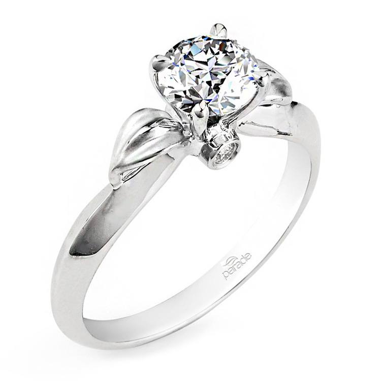 Lyria Budding Rose Engagement Ring in White Gold by Parade | 01