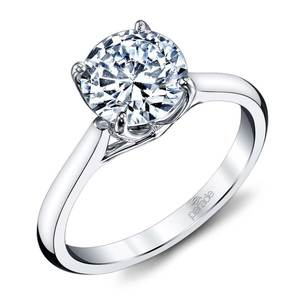 Lyria Crown Cathedral Solitaire Engagement Ring in Platinum by Parade
