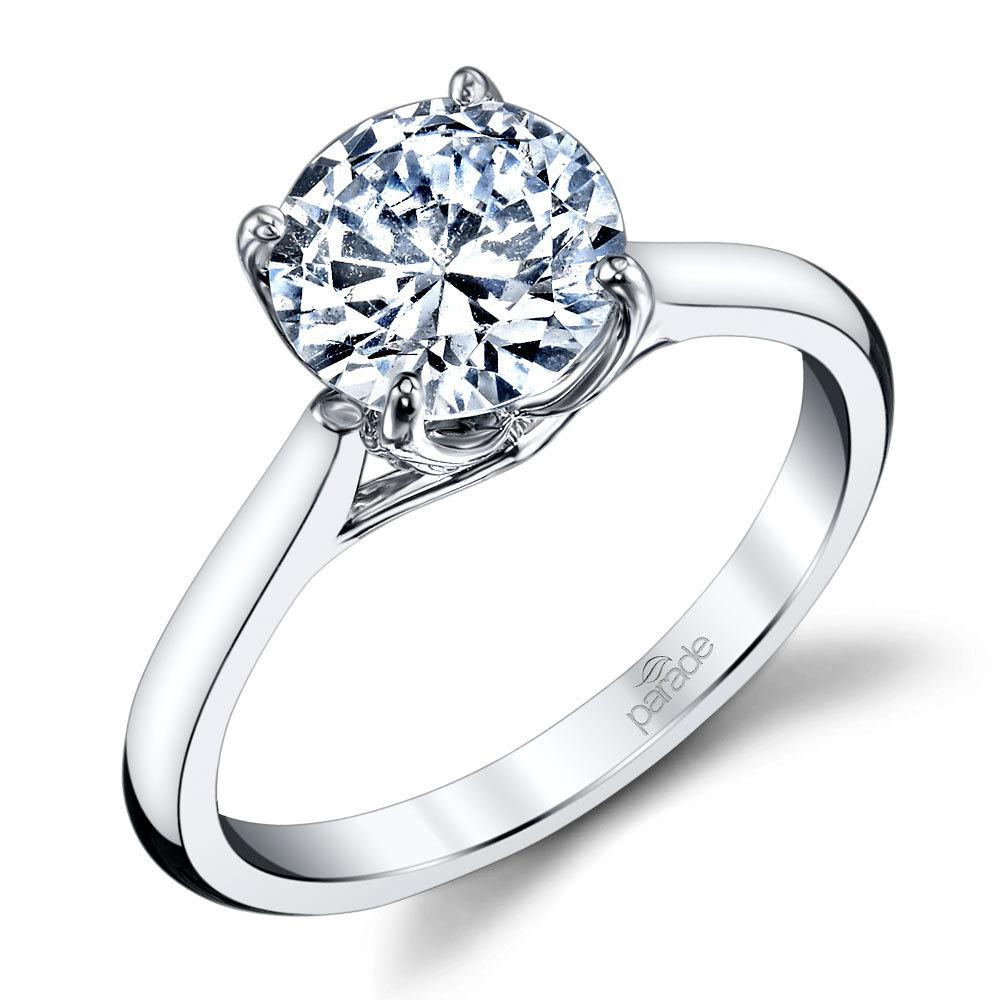 Lyria Crown Cathedral Solitaire Engagement Ring In White Gold By Parade