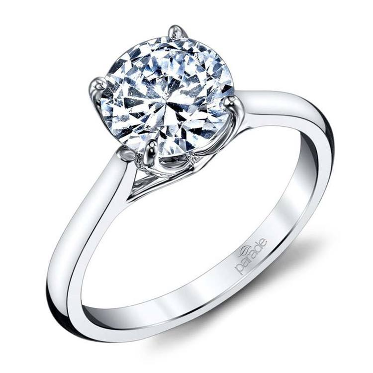 Lyria Crown Cathedral Solitaire Engagement Ring in White Gold by Parade | 01