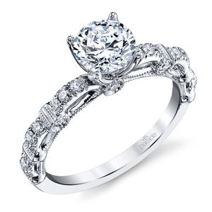 Lyria Crown Hemera Diamond Engagement Ring in White Gold