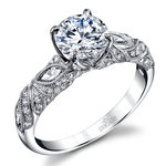 Lyria Crown Milgrain Leaf Diamond Engagement Ring in White Gold by Parade | Thumbnail 01