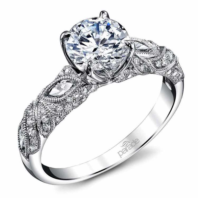 Lyria Crown Milgrain Leaf Diamond Engagement Ring in White Gold by Parade   01