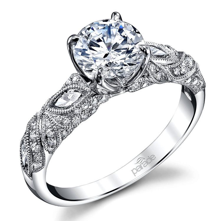 4f16939f07a Lyria Crown Milgrain Leaf Diamond Engagement Ring in White Gold by Parade