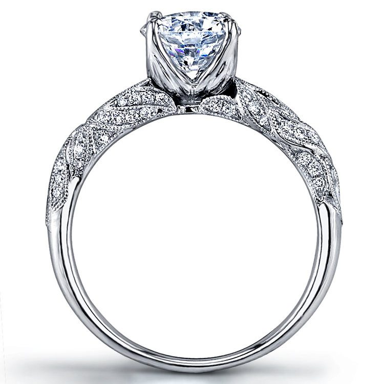 Lyria Crown Milgrain Leaf Diamond Engagement Ring in White Gold by Parade | 02