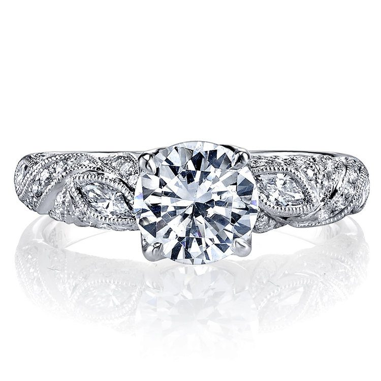 Lyria Crown Milgrain Leaf Diamond Engagement Ring in White Gold by Parade | 03