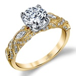 Lyria Crown Milgrain Leaf Diamond Engagement Ring in Yellow Gold by Parade | Thumbnail 01