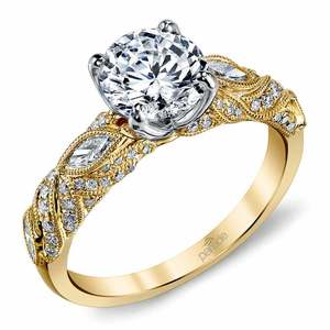 Lyria Crown Milgrain Leaf Diamond Engagement Ring in Yellow Gold by Parade
