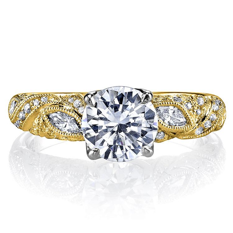 Lyria Crown Milgrain Leaf Diamond Engagement Ring in Yellow Gold by Parade | 02