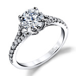 Lyria Crown Split Shank Diamond Engagement Ring in White Gold by Parade | Thumbnail 01