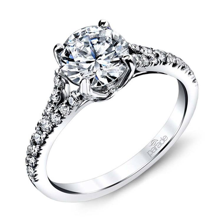 Lyria Crown Split Shank Diamond Engagement Ring in White Gold by Parade | 01