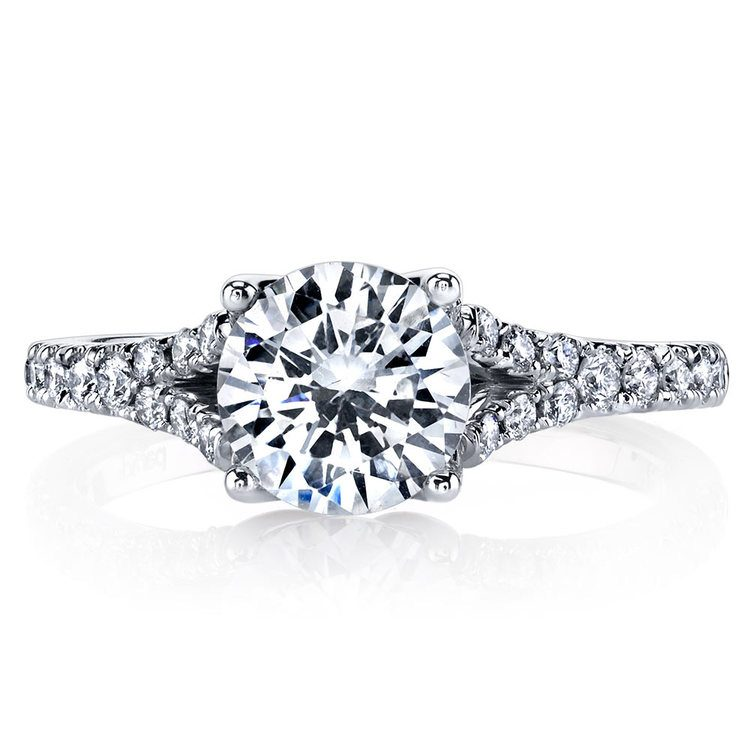 Lyria Crown Split Shank Diamond Engagement Ring in White Gold by Parade | 02