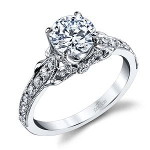 Lyria Crown Tapered Milgrain Diamond Engagement Ring in White Gold by Parade