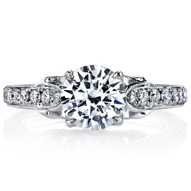 Lyria Crown Tapered Milgrain Diamond Engagement Ring in White Gold by Parade | 02