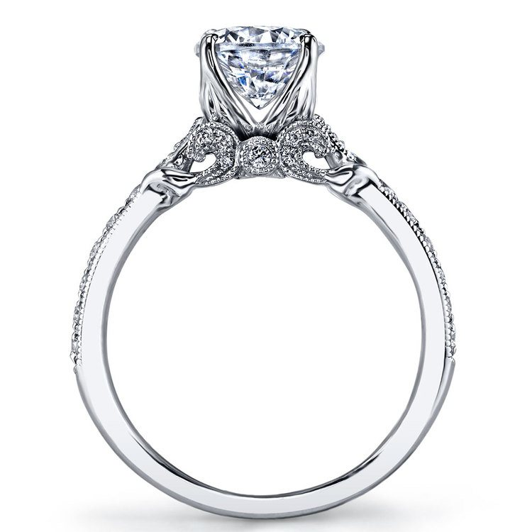 Lyria Crown Tapered Milgrain Diamond Engagement Ring in White Gold by Parade | 03