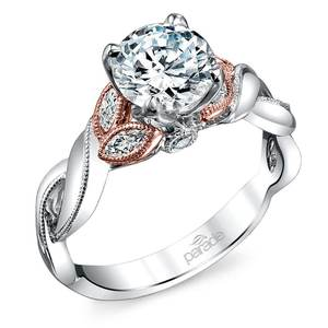Lyria Crown Twisted Milgrain Diamond Engagment Ring in White and Rose Gold by Parade
