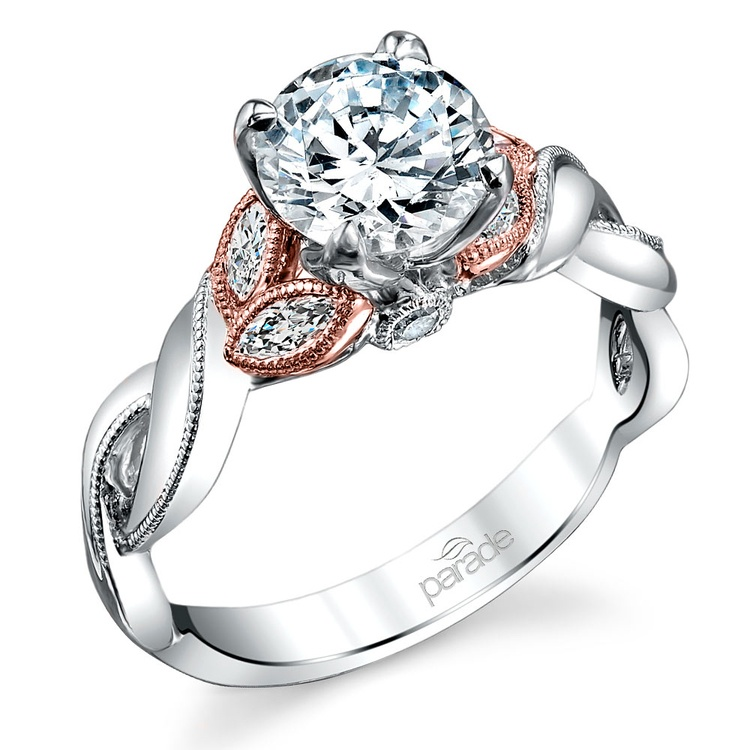 Lyria Crown Twisted Milgrain Diamond Engagment Ring in White and Rose Gold by Parade | 01