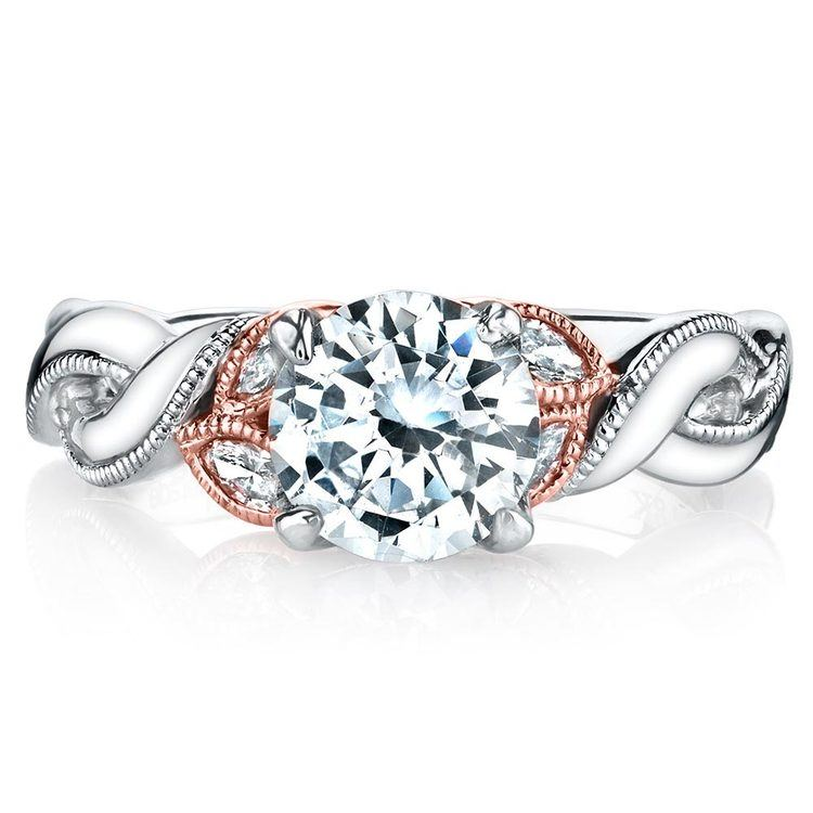 Lyria Crown Twisted Milgrain Diamond Engagment Ring in White and Rose Gold by Parade | 02
