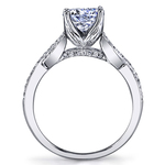 Lyria Crown Twisted Split Shank Diamond Engagement Ring in Platinum by Parade | Thumbnail 02