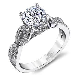 Lyria Crown Twisted Split Shank Diamond Engagement Ring in Platinum by Parade
