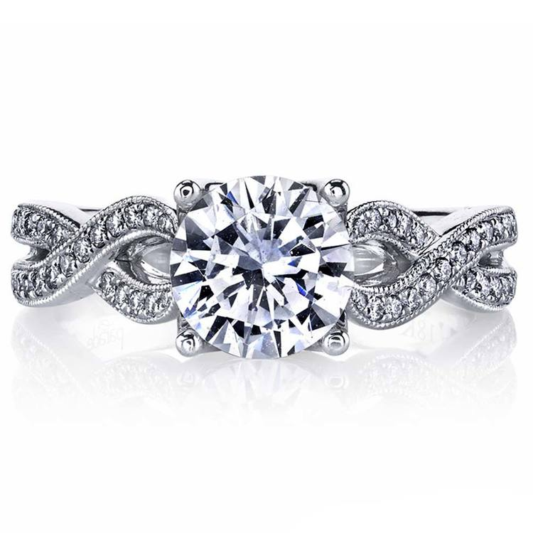 Lyria Crown Twisted Split Shank Diamond Engagement Ring in Platinum by Parade | 02