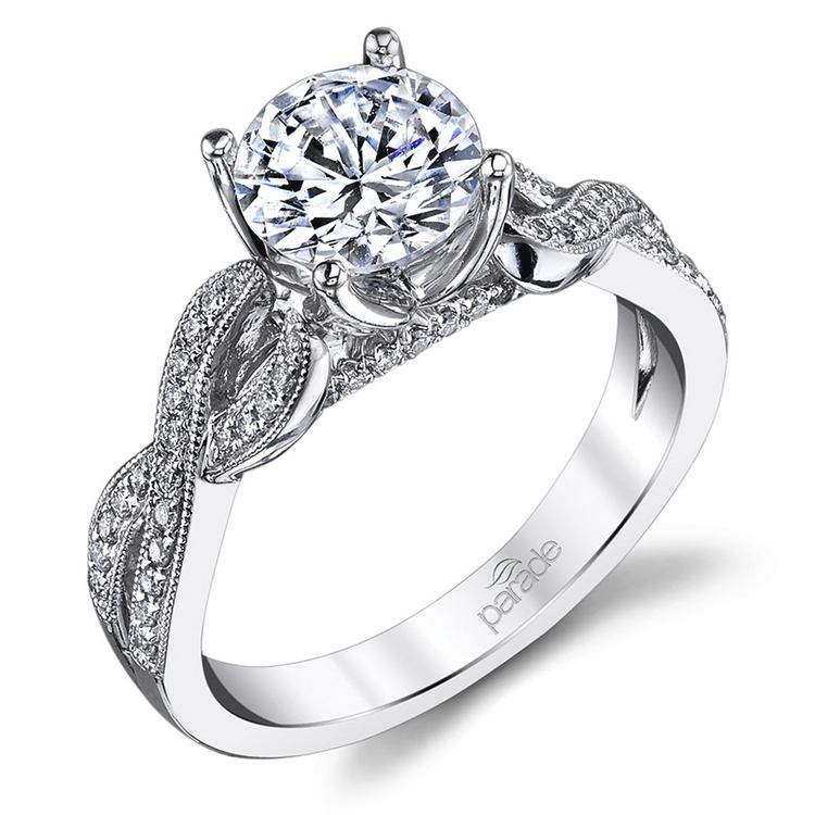 Lyria Crown Twisted Split Shank Diamond Engagement Ring in White Gold by Parade | 01
