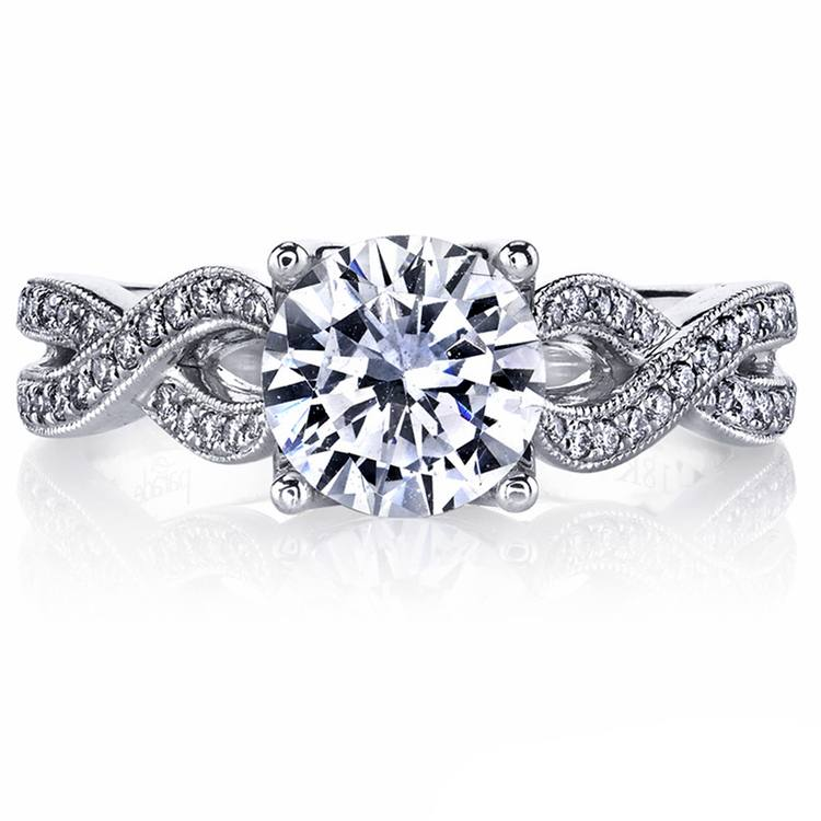 Lyria Crown Twisted Split Shank Diamond Engagement Ring in White Gold by Parade | 03