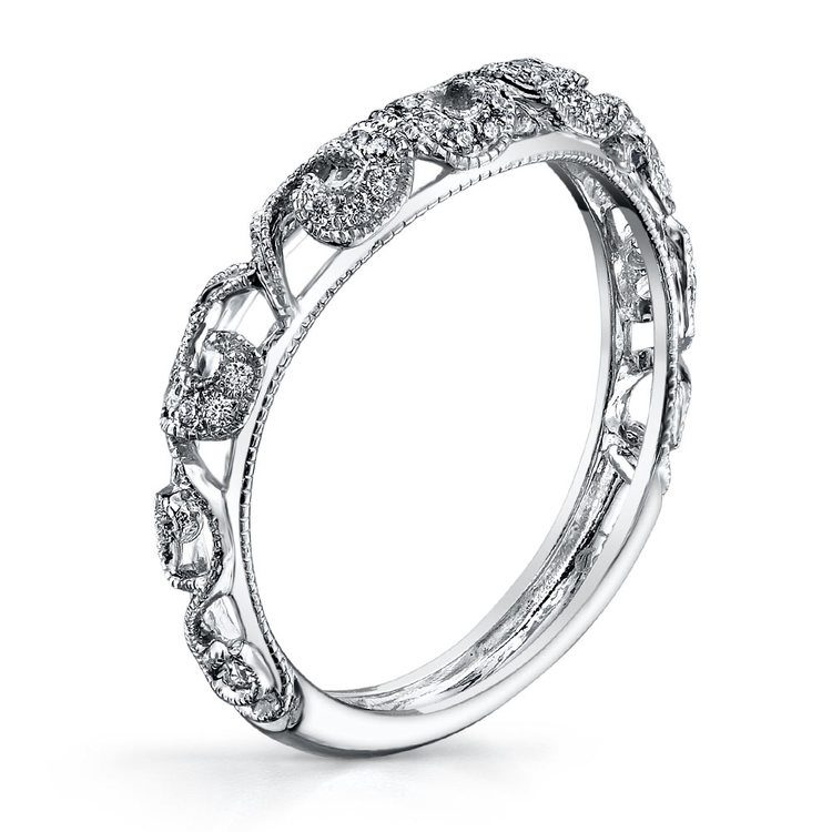Matching Floral Halo Diamond Wedding Ring in White Gold by Parade | 01